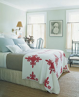 Pale green bedroom: Hamptons home by Jeffrey Bilhuber, from Elle Decor: 'Hancock Green' by Benjamin Moore