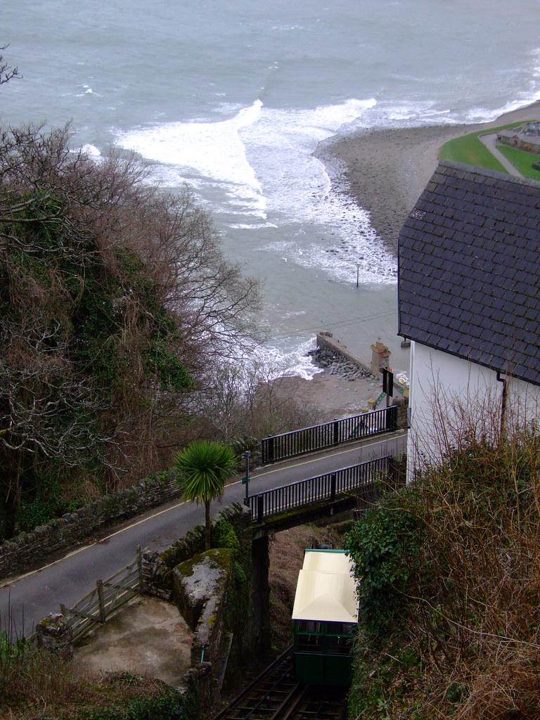 The cliff railway and Lynmouth Bay