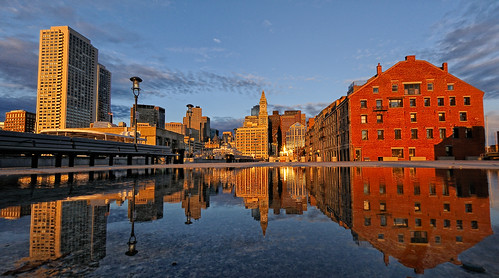 reflection boston marriott sunrise explore d300 customhouse longwharf blueribbonwinner 105mmf28gfisheye defished explored ©allrightsreserved goldstaraward nikonjim