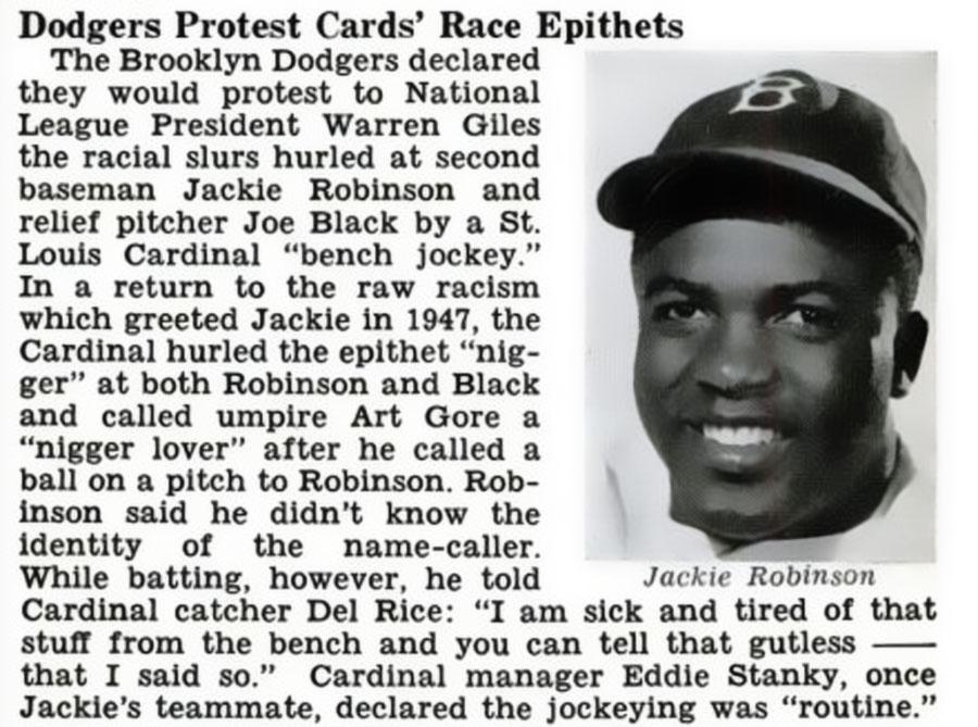 Brooklyn Dodgers Protest Racist Slurs Yelled At Jackie