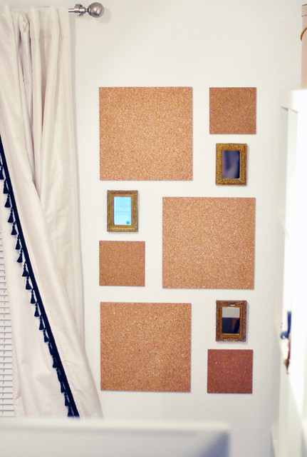 Cork wall tiles with small gold framed mirrors flickr for Small gold framed mirrors