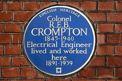 Photo of R. E. B. Crompton blue plaque