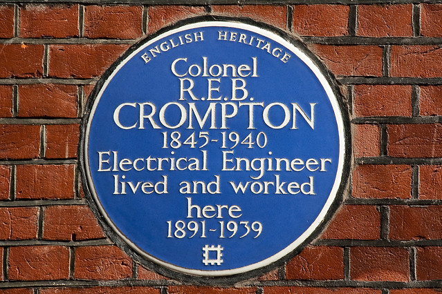 R. E. B. Crompton blue plaque - Colonel R. E. B. Crompton  1845-1940  Electrical Engineer  lived and worked here  1891-1939