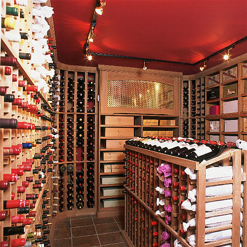 Painted ceiling + wine cellar: Farrow & Ball's 'Eating Room Red'