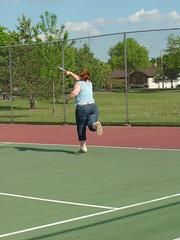 DeEtta reaching for the ball