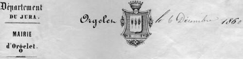 Armoiries d'Orgelet en 1860