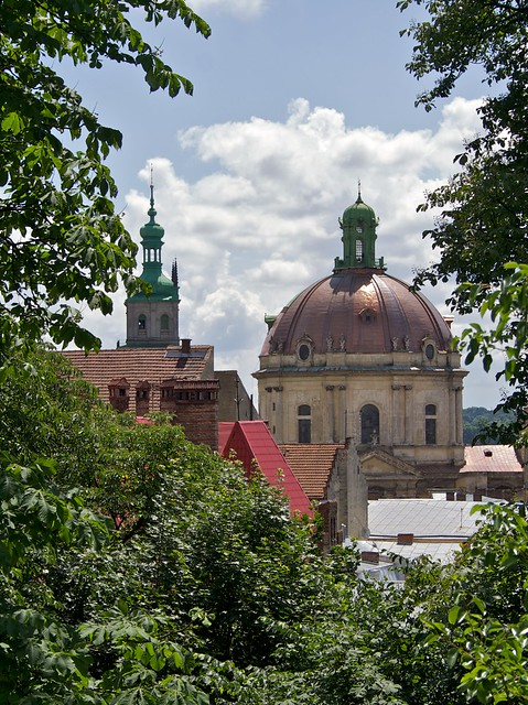 Korniakt Tower (left) and Dominikan church. View from hills. Lviv, Ukraine (вежа Корнякта і Домініканський собор. Львів, Україна)