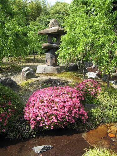 Stone lantern and azalea, Jonangu Kyoto