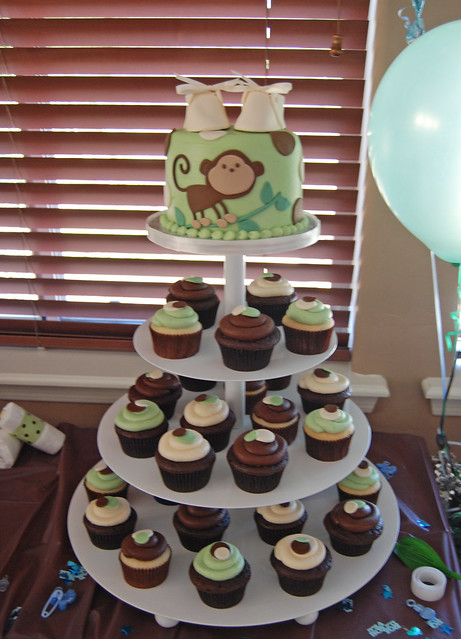 sage green brown and cream monkey themed baby shower cupcake tower