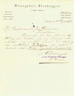 1921.09.24 - Purring fra Strengsdals Stenhuggeri til stadskonduktør Johan Christensen