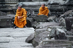 Two monks - Angkor Wat, Cambodia