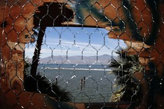 View of the Salton Sea from inside the abandoned North Shore Yacht Club
