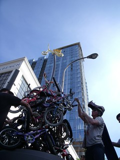 The city-funded monument to Zoobomb doubles as a storage location for Zoobombers' bikes.