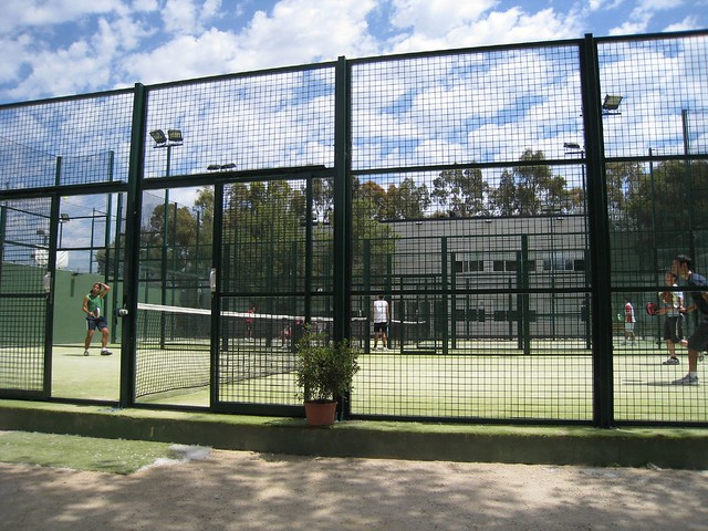 Sanchez-Casal Paddle Tennis Game in a cage