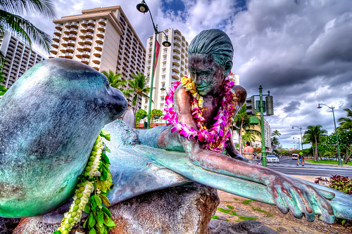 Surfer and Monk Seal Statue