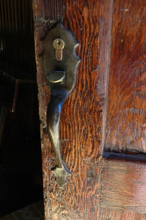 Wood door with handle, 120 yr old prefab - Iglesia Santa Barbara de Santa Rosalia, Designed by Gustave Eiffel, Mexican Metal Gothic Church, San Rosalia, Baja California Sur, Mexico