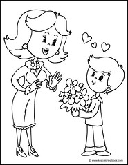 Mother and Son - Coloring Page
