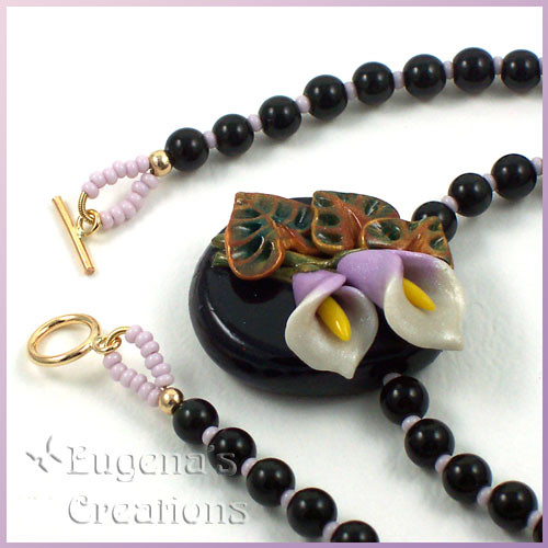 Sculpted Calla Lilies Necklace, Polymer Clay