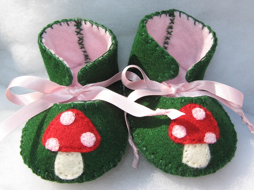 green and pink red mushrooms baby booties-mary janes
