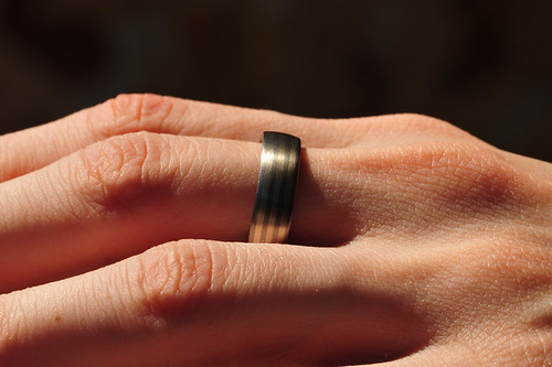 Wedding ring with stripes