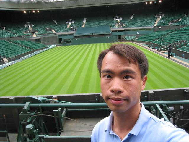 JC at front row of Wimbledon Centre Court