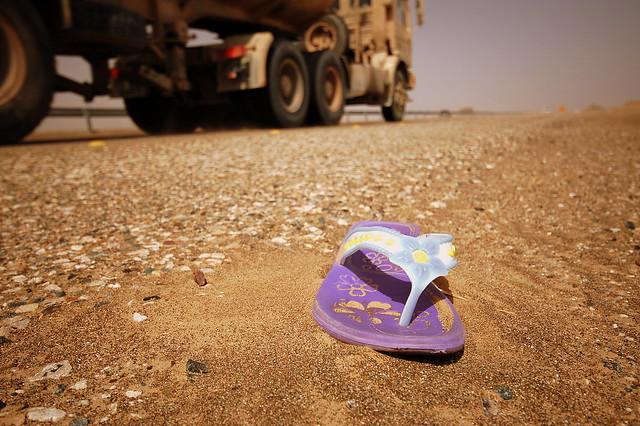 Sandal on the roadside