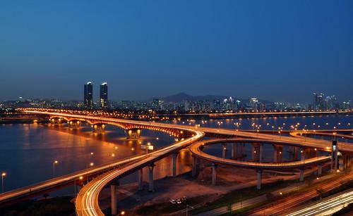 bridge river exposer korea seoul southkorea hanriver longexposer