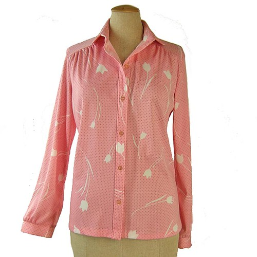 VINTAGE 1970's Women's Blouse... Stretchy Polyester Pink Polka Dots ...