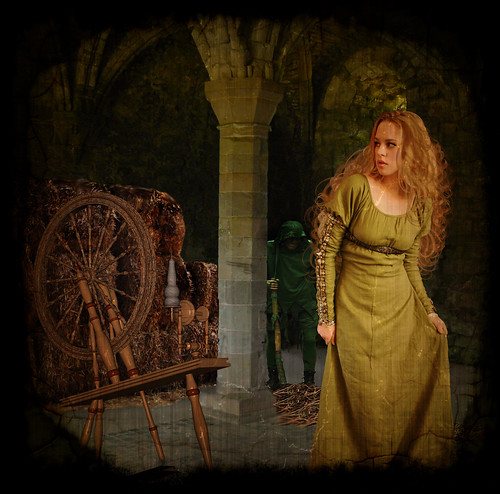 fairy tale princess and spinning wheel
