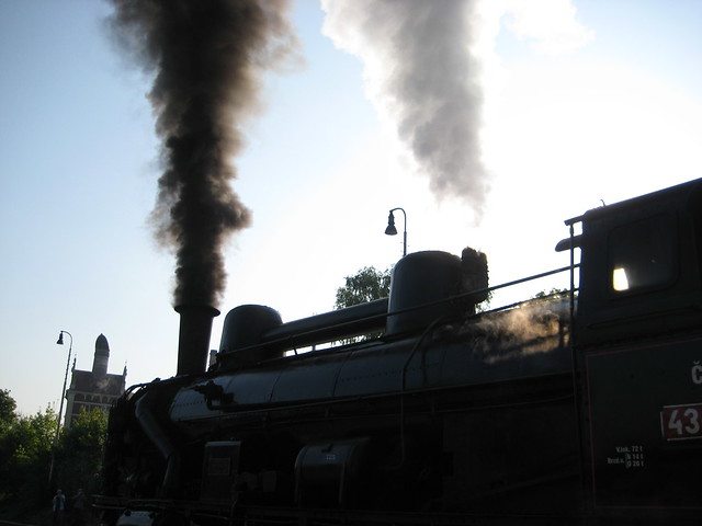 Black smoke and white steam