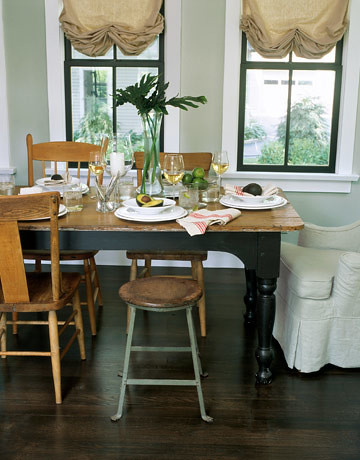 gray dining room rustic details mismatched chairs in