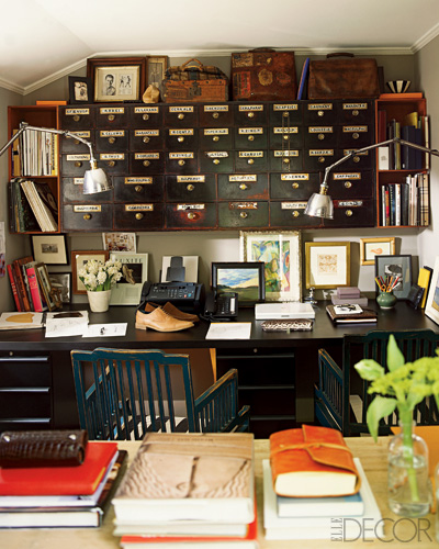 Ideas for small spaces: Vintage apothecary cabinet for storage, from Elle Decor