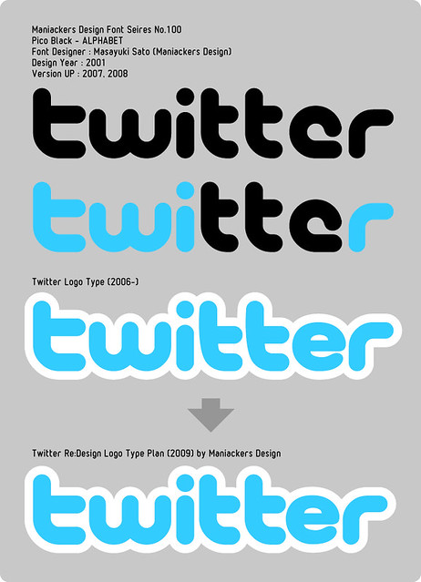 """Twitter"" Logo Type by Maniackers Design Font ""Pico"" 2006-2010.09"