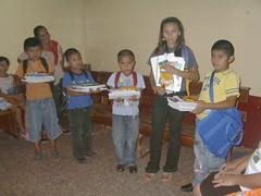Sponsored kids receiving their school supplies