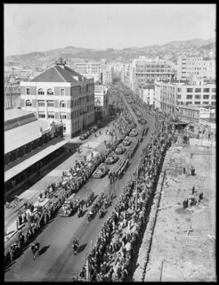 Michael Joseph Savage's funeral procession, Waterloo Quay, Wellington, April 1940