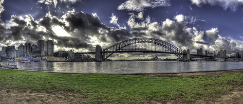 A panoramic view of Sydney Harbour and the surrounding area.