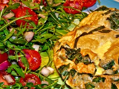 Pea and Mint Omelette with Tomato and Rocket Salad