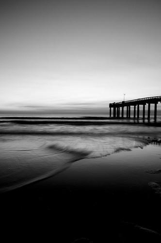 ocean longexposure bw beach water dark pier nikon soft waves staugustine d90