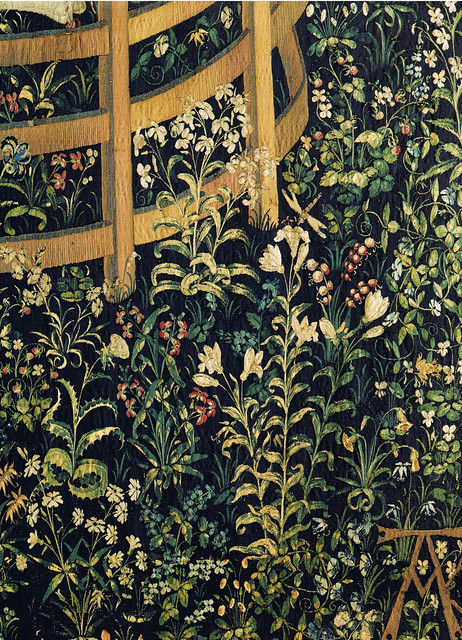 Tapestry no. 7: The Unicorn in captivity (detail: flowers)