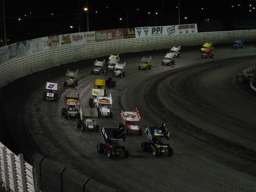 2 cars car racetrack race turn track knoxville iowa sprint speedway