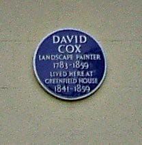 Photo of David Cox blue plaque