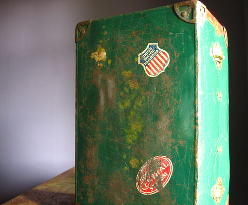 Vintage Green Metal Mini Trunk