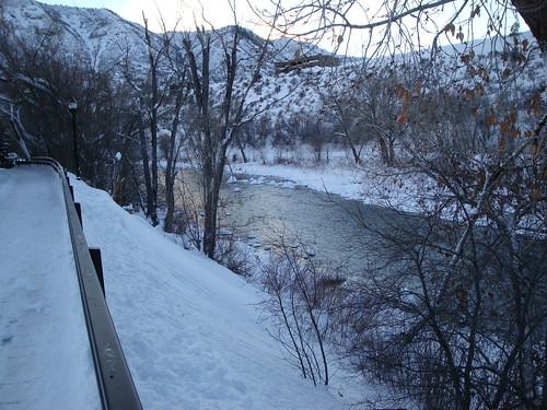 christmas winter sunset vacation snow river colorado stream hiking trail co durango animasriver