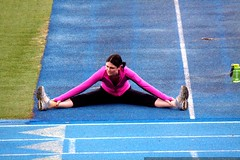 rachel   stretching on the track    MG 5757