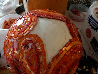 Mosaic Bowling Ball in Process