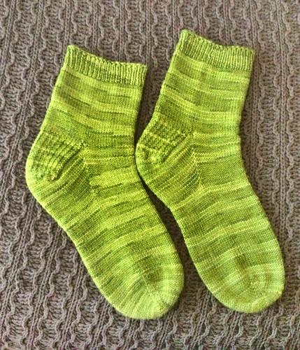 Toe up socks with slip stitch flap heel