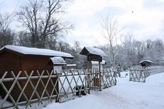 hut, winter, snow,