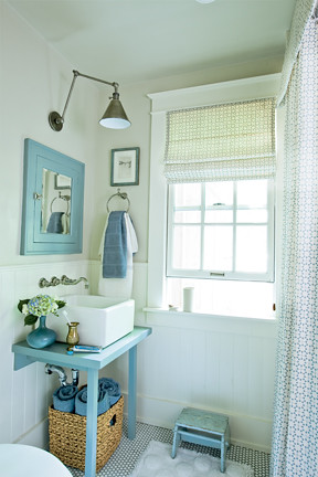 Bathroom Inspiration on Blue   White Beachy Bathroom  Farrow   Ball Paint   Antique Fixtures