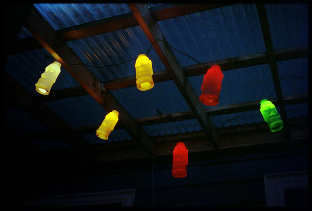 Tiki Lights Lookin good against the corrugated plastic ro? Flickr - Photo Sharing!