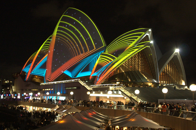 Opera house light show